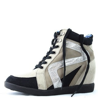 Qupid Patrol-24 Lace Up Wedge Heel Sneakers