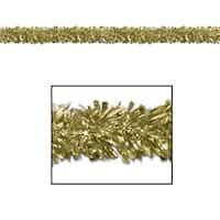 Pack of 12 Festive Metallic Gold Foil Tinsel 6-Ply Christmas Garlands 15' - Unlit