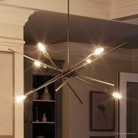 """Luxury Modern Chandelier, 10.5""""H x 22.625""""W, with Vintage Style, Brushed Nickel Finish by Urban Ambiance"""