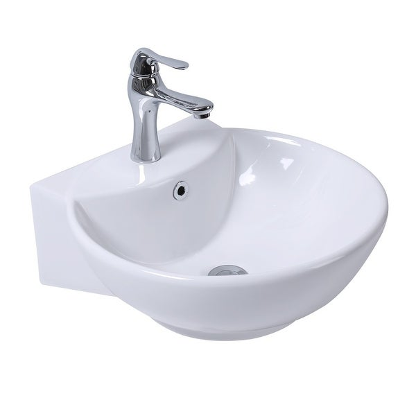White Wall-Mount Small Sink Easy Clean and Install Scratch and Stain Resistant with pop up drain and single hole faucet