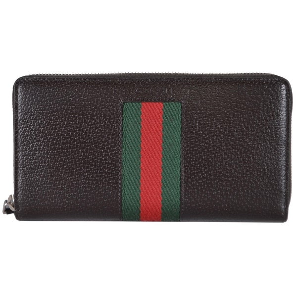 05f75d4e Shop Gucci 408831 Brown Leather Red Green Web Stripe Zip Around ...