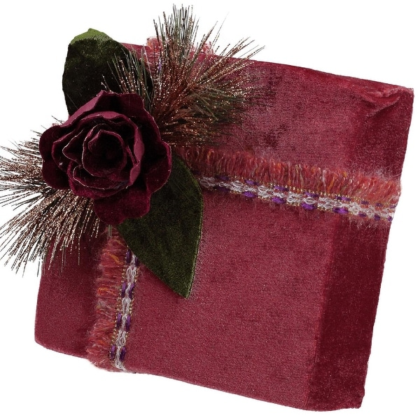 """8"""" Nature's Luxury Dark Rose Floral Accent Christmas Gift Box Decoration"""