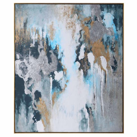 """Uttermost 36058 Stormy 61"""" x 51"""" Framed Abstract Painting on Paper by David Frisch - Blue / Teal"""