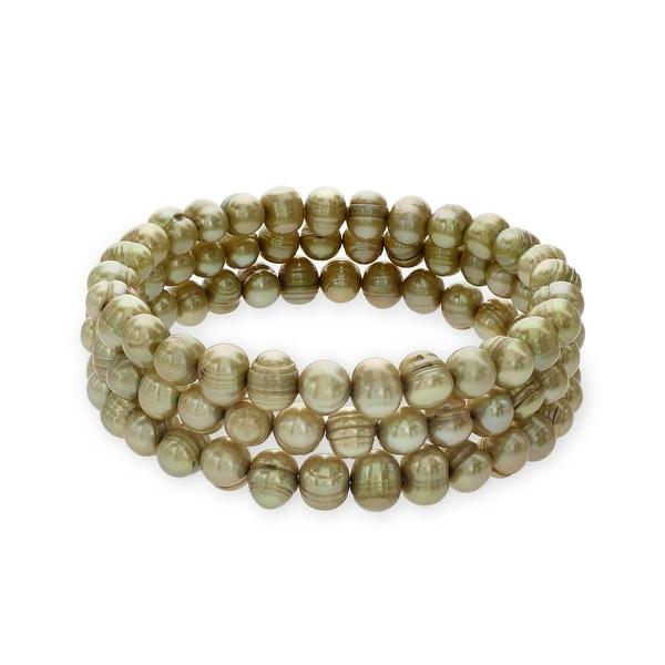 Honora Set of 3 Ringed 7-8MM Pistachio Freshwater Pearl Bangle Bracelets