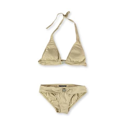 Carmen Marc Valvo Womens Embellished Brief 2 Piece Bikini, Beige, X-Small