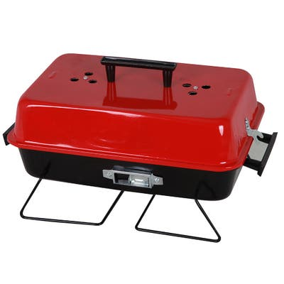 The Your Choice Portable Folding Charcoal Stainless-steel BBQ Camping Grill with Red Lid, 20 Inch Grate, - 20 Inch Grate
