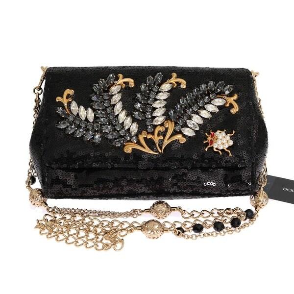 Shop Dolce   Gabbana Black Crystal Sequined Clutch Bag - One Size ... 56f92ce5823