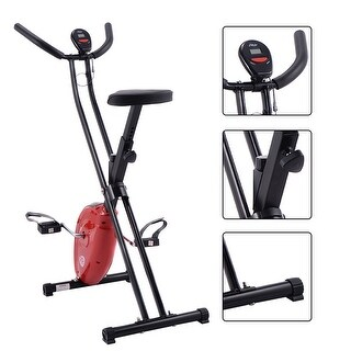 Folding X-Shape Exercise Bike Cardio Workout Cycling Magnetic Fitness Stationary - Red