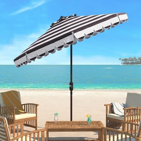 SAFAVIEH Maui Black and White Single Scallop Striped 9-foot Umbrella