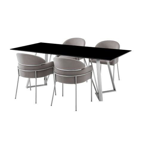 Tempered Glass Top 5 Piece Dining Table with Angled Legs, Gray
