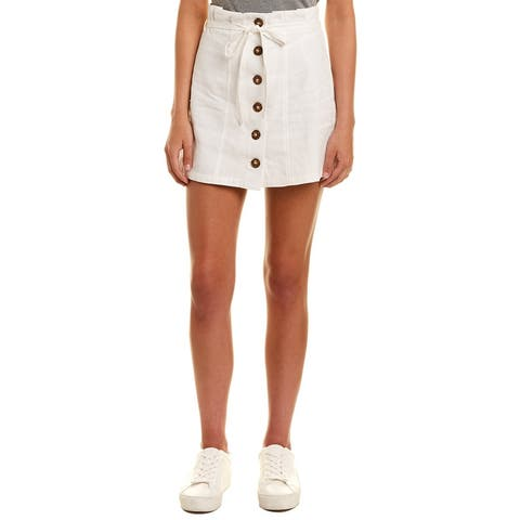 Very J Button Front Mini Skirt