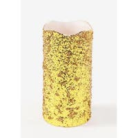 "8"" Gold Glittered Battery Operated Flameless LED Wax Christmas Pillar Candle"
