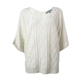 NY Collection Women's Short Sleeve Metallic Cable Knit Sweater - xs