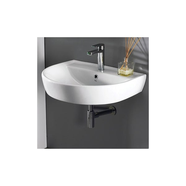 "Nameeks 007800-U Cerastyle 23-2/3"" Ceramic Bathroom Sink Only for Wall Mount Installation - White / One Hole"