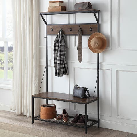 "BELLEZE 70"" Bench Hall Tree Entryway Storage Shelf Coat Rack - standard"