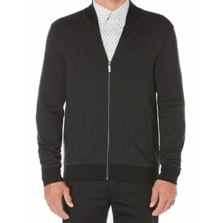 Perry Ellis NEW Black Mens Small S Full Zip Herringbone Knit Jacket