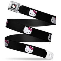 Hello Kitty W Red Bow Full Color Black Hello Kitty Face Pink Bow Bows & Seatbelt Belt
