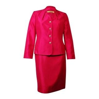 Kasper Women's Baroque Pleated Skirt Suit - BERRY - 16