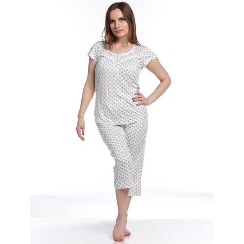 Body Touch Women's Classic Top/Capri Pajama Set - White/Grey