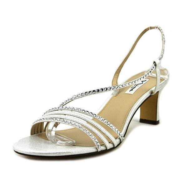 Nina Gerri Women W Open-Toe Canvas Silver Slingback Heel