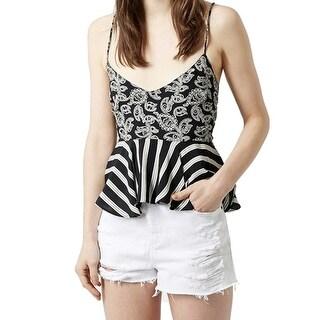 TopShop NEW Black Striped Paisley Peplum Women's Size 8 Tank Cami