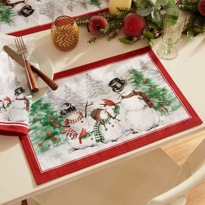 Snowman Winterland Holiday Snowflake Placemat, Set of 4