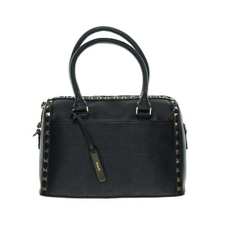 Kensie Womens Studded Textured Satchel Handbag - Dark Navy - Medium