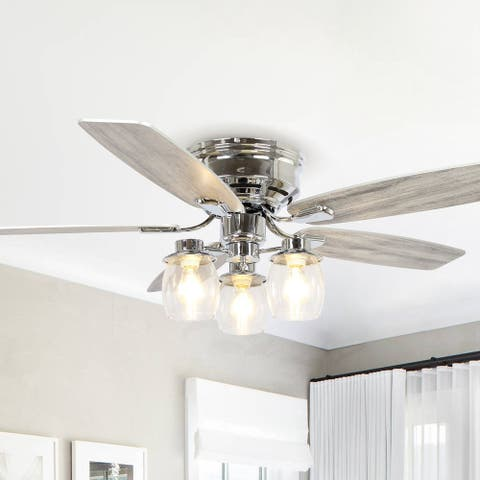 """52"""" Chrome Wood 5-Blade Low Profile Ceiling Fan with Remote"""