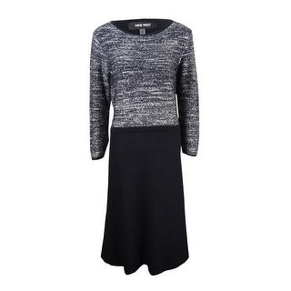 Nine West Women's Sequined Marled A-Line Sweater Dress - Silver Multi
