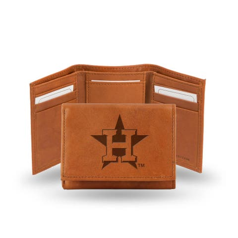 """4"""" Brown MLB Houston Astros Embossed Trifold Wallet"""