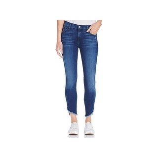 7 For All Mankind Womens Juniors Ankle Jeans Frayed Raw Hem