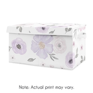 Purple Watercolor Floral Collection Girl Kids Fabric Toy Bin Storage - Lavender, Pink and Grey Shabby Chic Rose Flower