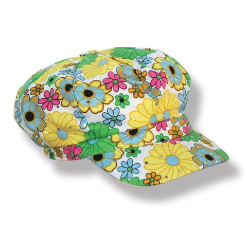 Set of 6 Multi-Color Fabric 60's Flower Print Hat 7""