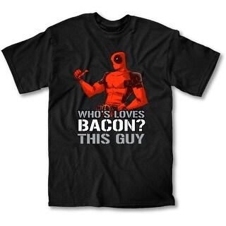 Deadpool Loves Bacon Men's Black T-Shirt