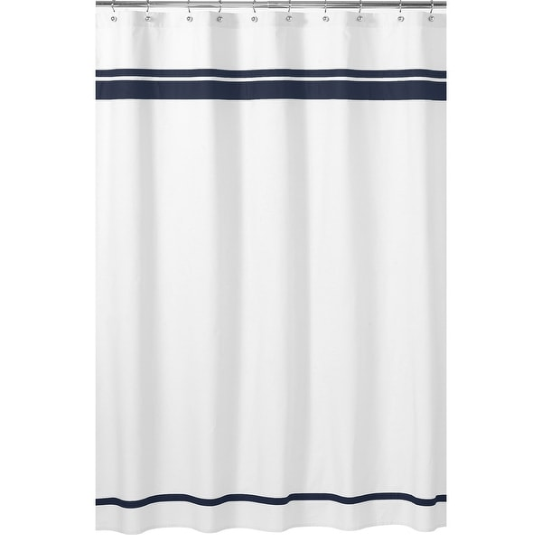 Sweet Jojo Designs White and Navy Hotel Shower Curtain. Opens flyout.