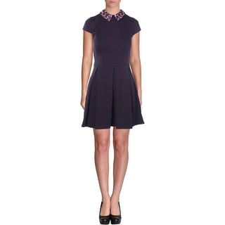 Aqua Womens Juniors Cap Sleeves Embellished Collar Wear to Work Dress - M