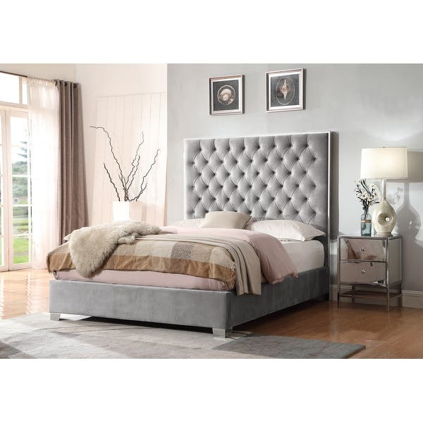 Shop Silver Orchid Christopherson Grey Upholstered Bed Overstock 20459360