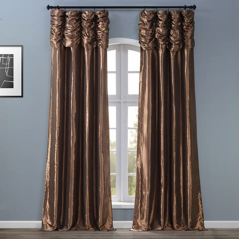 Exclusive Fabrics Ruched Faux Solid Taffeta Curtain