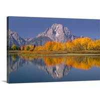 Premium Thick-Wrap Canvas entitled Mount Moran in Grand Teton National Park reflected into Ox Bow Bend, Wyoming