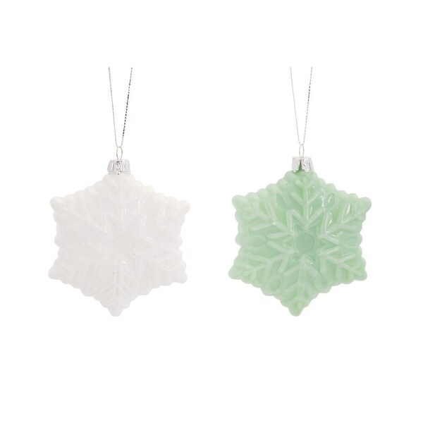 """Club Pack of 12 Retro Teal and White Milk Glass Christmas Ornaments 4"""""""