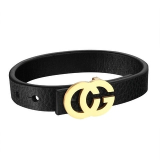 CG Design Buckle Bracelet Gold Tone Stainless Steel Black Leather Wrist Band