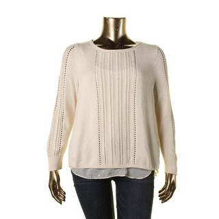 Lucky Brand Womens Metallic Long Sleeves Pullover Sweater