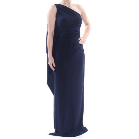 e7de9cdf RALPH LAUREN Womens Navy Slitted One Shoulder Ruched Gown Asymmetrical  Neckline Full-Length Evening Dress