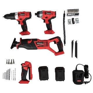 18V Combo Kit Cordless 4 Tool Compact Drill Driver Reciprocating Saw& Flashlight - Black + Red (As Picture Show)