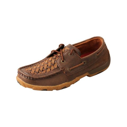Twisted X Casual Shoe Womens Leather Lace Boat Tan Brown - Tan Brown