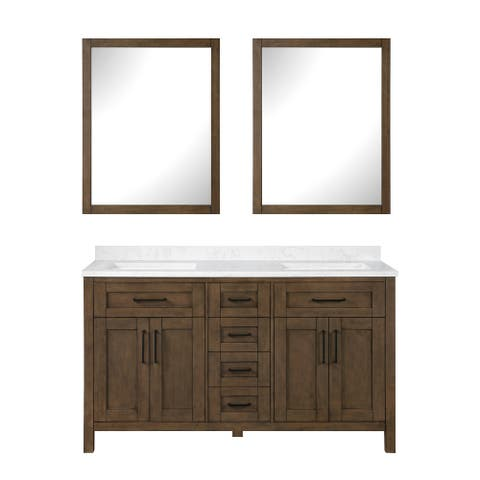 OVE Decors Tahoe 60 in. Almond Latte Vanity with 2 Mirrors included