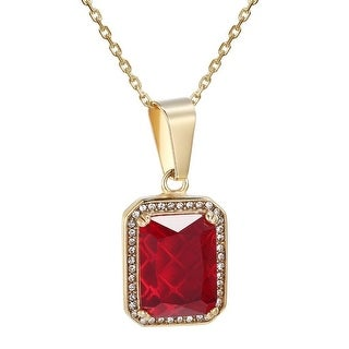 Ruby Solitaire Glass Pendant Hip Hop Gold Tone Stainless Steel Simulated Diamond