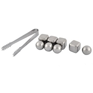 Home Stainless Steel Cubic Round Shaped Soda Juice Ice Cube Set 9 in 1