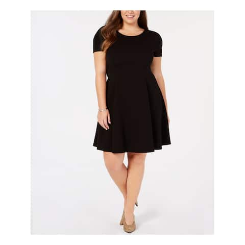 SOPRANO Womens Black Short Sleeve Jewel Neck Above The Knee Fit + Flare Wear To Work Dress Plus Size: 2X