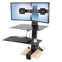 Ergotron 33-349-200 Workfit-S Dual Monitor With Worksurface+ - Black